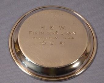 RARE ITEM 1944 Sterling Silver Coaster Fifth War Loan/War Bonds Drive