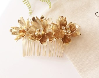 Bridal Comb Bridal Hair Comb Bridal Headpiece Wedding Headpiece Flower Comb Bridal Flower Comb Gold Hair Comb Silver Comb #170