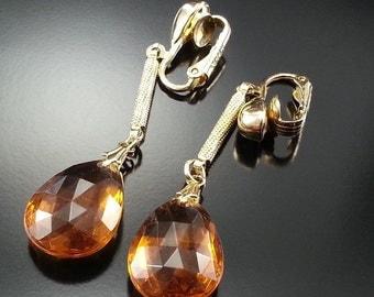 Vintage Sarah Coventry Dangle Earrings Honey Amber Lucite Drops Gold Bar Estate