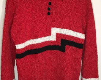 Vintage 80s 90s Loose Knit Sweater Ultra Soft Red with Black White Zig Zag  Medium
