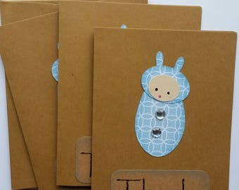 Baby Shower Thank You Card Set of 3, Baby Boy Thank You Note Cards Set