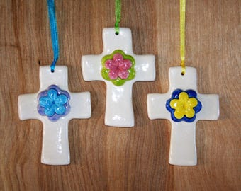 Cross with Blossom accent to use as an ornament, gift accent, lovely keepsake