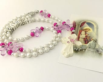 Personalized First Communion Rosary. First Communion Rosary. White and Pink Rosary. Catholic Rosary. Catholic Gift. Butterfly Rosary. #R3