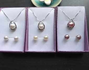 Genuine 8-9mm Freshwater Pearl Necklace and Earring set S925 silver Wedding Bridesmaid Gift set,Christmas gift