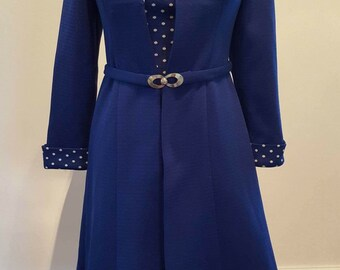 Vintage  1950s Blue Polka Dot Dress Suit