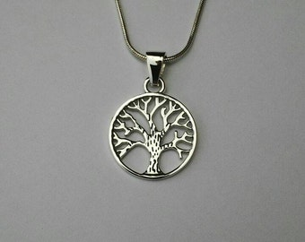 Sterling silver Tree of Life pendant on sterling silver snake chain,  925 silver