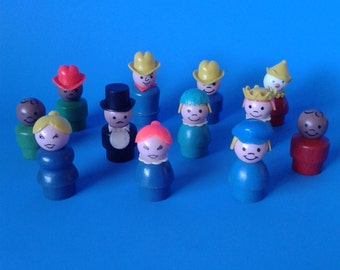 "Vintage Fisher Price Little People "" 12 Assortment Figures WOOD "" 1970's"