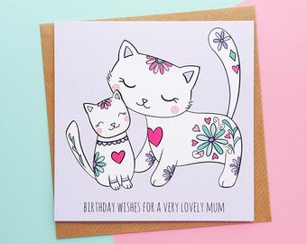 Mum Birthday Card | Cute Cats Birthday Card For Mum, Handmade Mum Birthday Card,Mum Cards, Cute Cat Card | Cards for Her,Cards From Daughter