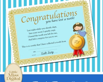 Tooth Fairy Certificate Boy Blue Award Ribbon Rosette Congratulations Bedroom Playroom Download Printable DIY