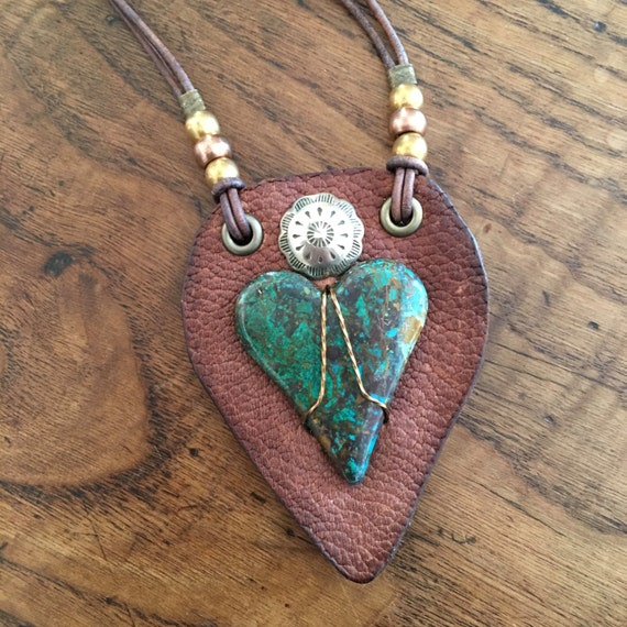 Nevada Chrysocolla Heart Leather Necklace