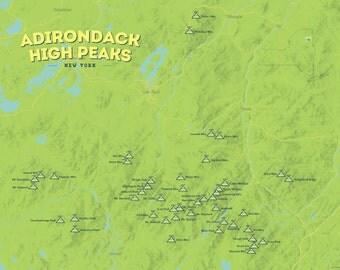 Adirondack High Peaks Map 18x24 Poster