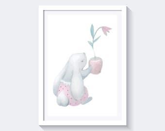 Bunny rabbit print, pastel print, watercolor print, aquarelle print, nursery print, easter print, instant download, pastel bunny rabbit