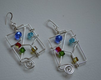 Silver Abstract Wire Earrings/Swarvorski crystals
