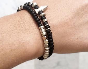 Stacking bracelet set, bracelet set, bracelet men, beaded bracelet set, beaded bracelet for men, festival bracelet, black bracelet