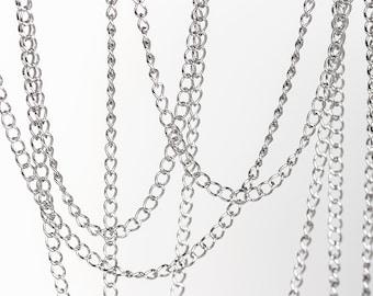 2400 Curb link chain 4x3 mm Silver chain Rhodium plated chain Copper chain Oval link chain Jewelry findings Chain jewelry making 1 m.