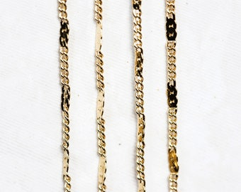 2539_Gold curb chain 1.3 mm, Curb link chain, Curb chain gold, Flat curb chain, Jewelry meter chain, Gold plated chain for jewelry making_1m