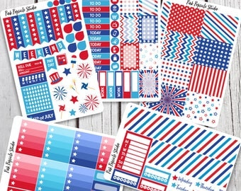 4th of July Weekly Kit Planner Stickers Designed For Erin Condren Life Planner Vertical