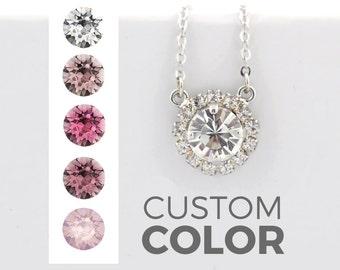 Bridesmaid necklace - blush pink - pendant necklace