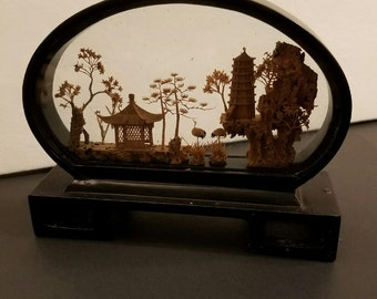 Vintage  asian diorama cork carving black lacquer framed 4.5x6 vc6