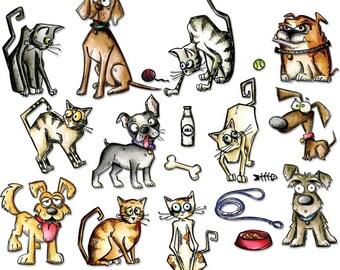 Tim Holtz Sizzix Thinlits Die Set - Crazy Cats & Dogs 45/PK #661594
