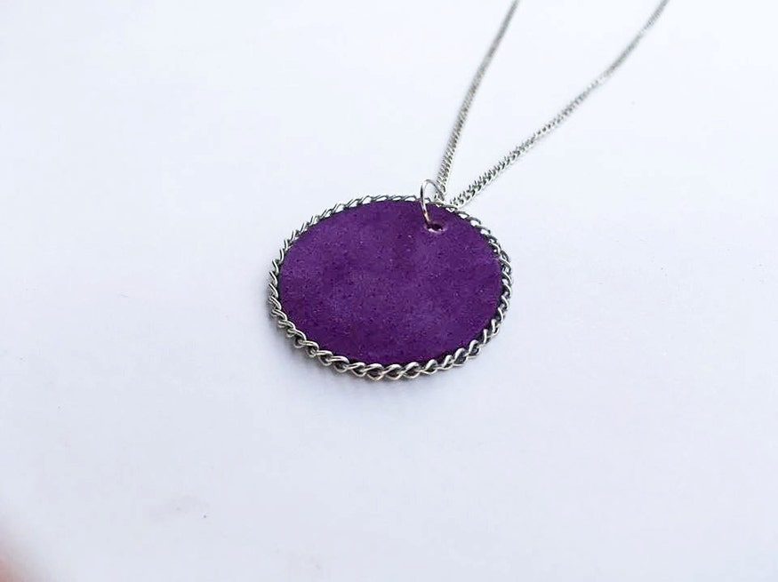 Lilac purple leather necklace, Violet necklace, Lilac purple necklace, Leather gift for her, Circle shape necklace pendant, Leather jewelry