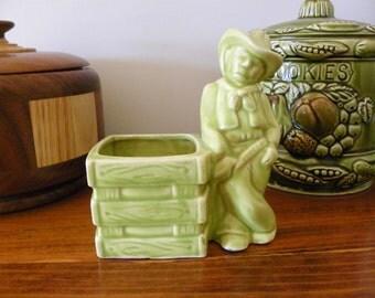 Vintage Cowboy Planter - Green