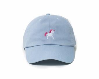 Unicorn Hat, Unicorn Dad Hat, Unicorn Baseball Cap, Embroidered Baseball Cap, Adjustable Strap Back Baseball Cap, Low Profile, Baby Blue