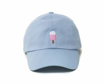 Popsicle Hat, Popsicle Baseball Cap, Embroidered Baseball Cap, Adjustable Strap Back Baseball Cap, Low Profile, Baby Blue