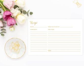 Gold Recipe Card, Recipe Card, Printable Recipe Card, Bridal Shower Recipe Card, 4x6 Recipe Cards, GFBRS, INSTANT DOWNLOAD