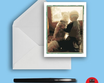 Stationery, Blank Note Card A Boy and His Dog - Best Friends Blank Note Card