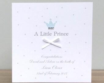 Personalised Handmade Little Prince Baby Boy Card - Baby Boy Card - New Baby Card - Prince Card - Personalised Baby Boy Card