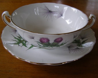 Vintage Colclough England Handled Bowl with Plate Lavender & Green Thistle Gold Trim