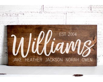 Last Name Sign | Family Name Wood Sign | Custom Wedding Gift | Wedding Establish Sign | Family Established Sign | Housewarming Gift | 24x11