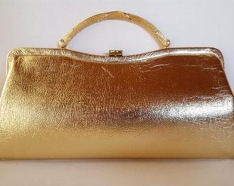 Vintage Mod Gold Clutch, Bamboo Goldtone Handle