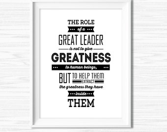 Leadership Quotes For Office Wall Art Motivational Wall Decor Printable  Success Quotes Inspirational Teamwork Canvas Quote