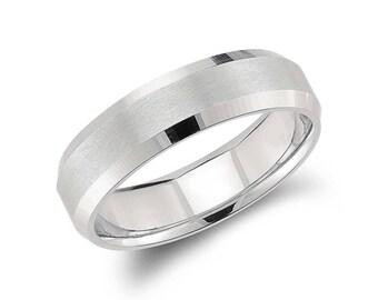 Men's Modern Comfort Fit Wedding Ring - 6mm Wide - Beveled Edge Matte Wedding Ring in Platinum or 14K White Gold (6mm)