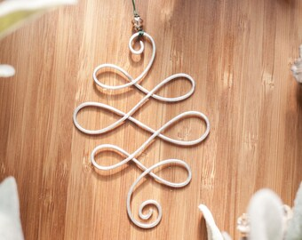 Wire Christmas Ornament : Celtic Knot. Ornate Ornament, Beaded Wire Ornament, Christmas Tree Ornament, Swirled Wire Art, Last Minute Gift