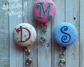 Monogrammed Badge Reel - You Pick Colors!
