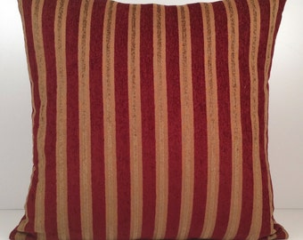 Red and goldish copper pillow, Throw Pillow Cover, Decorative Pillow Cover, Cushion Cover, Accent Pillow, Velvet blend stripes Pillow, Decor