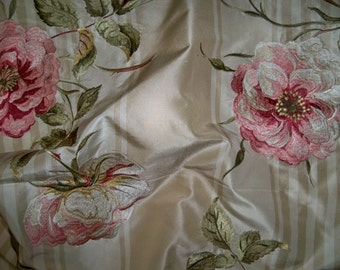 COLEFAX & FOWLER Embroidered Shabby Roses Silk Stripes Fabric 10 Yards Beige Cream Pink Green Multi