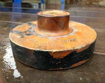 Vintage Wooden Foundry Mold - Small Round