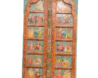 Folk Turquoise Mandawa Door, Iron Detailed Door, Indian Door,Rustic door, Carved door, Antique door, Painted Door, Moroccan door, door