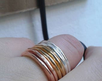 Stackable rings from Silver 925, silver stacking rings, 24kt Gold plated, silver plated 14kt gold, irregular shape