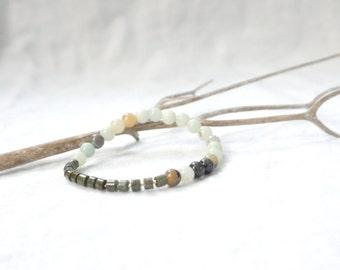 PEACE ON EARTH / Amazonite • Rainforest Jasper • Gold / Crystal Bracelet