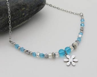 Girl flower stainless steel charm necklace, blue glass beads, seed beads transparent, stainless steel chain