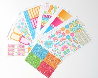 Time To Bloom Spring Weekly Planner  Sticker Kit and Washi Removable Matte  or Glossy Stickers