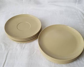 Vintage Khaki Laguna Melmac Saucer Plates