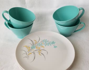 Vintage Turquoise Blue Duraware Melmac Cups and Plates