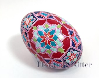 Goose Egg Pysanka, Red Tile Design
