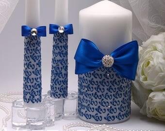 Wedding Unity Candle Ceremony Candles Unity Blue Wedding candle blue Wedding Set Unity Candles wedding unity candles set Personalized Candle